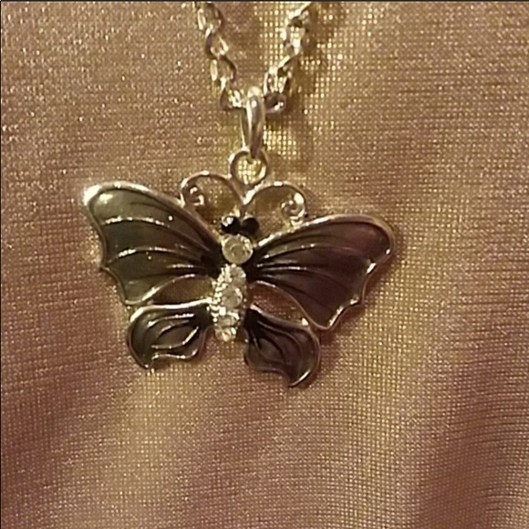 """Butterfly gray Jewelry - Butterfly 20"""" necklace."""
